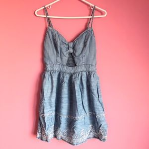 Embroidered Denim Dress with Cutout